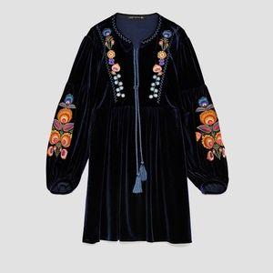 Zara Women Embroidered Velvet Dress